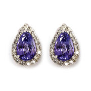 6.8 Ctw Natural Pear Tanzanite And Diamond Solid 14k White Gold Halo Drop Earrings