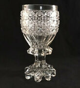 Antique American Brilliant Period Cut Glass Toasting Goblet Russian Pattern Abp