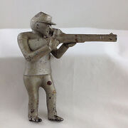 Circa 1892-1923 Iron Man With Rifle Figure Only For Fowler Mechanical Bank