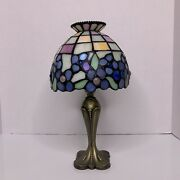 Partylite Blue Hydrangea Tealight Lamp Hand Cut Style Stained Glass