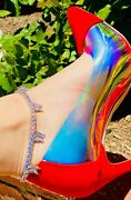Butterfly Anklet Womens Ladies Ice Tennis Link 14k White Gold Finish Icy Stamp