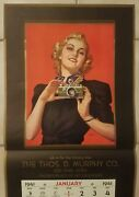 1941 Pin Up Calendar Andrew Loomis Candidly Yours Blonde W/ Camera 15x30 Nos