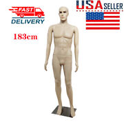 183cm Full Body Male Mannequin Realistic Model Display Head Turns Dress Form Us