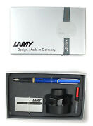 Lamy Al Star Fountain Pen Blue And Ink Bottle And Cartridge And Converter Gift Set New