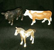 Schleich Lots Farm Animal Cowbull And Horse 3 Pieces Lots
