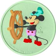 Niue 2017 - Steamboat Willie Andndash Andy Warhol - Green - Disney - 2 Silver Coin 1oz