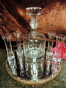 Vntge Cut Glass Crystal Decanter Paperweight Base 4 Unique Shot Cordial Glasses