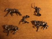 1950s Vintage Marx Gold Knight Figures 70mm 70 Mm 2 Horses Missing Tails Used