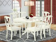 7pc Avon 42x60 Oval Kitchen Dining Table W/ 6 Kenley Wood Chairs In Linen White