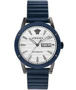 Versace Theros Menand039s Automatic Watch Day Date Blue Pvd