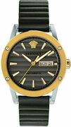 Versace Theros Menand039s Automatic Watch Day Date Brown