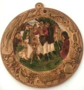 Vintage Folk Art Resin Carvings Hand Carved People Decorative Wall Hanging Arbio