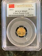 2013 Gold China 20 Yuan Panda 1/20 Oz Coin Red Flag Lable Pcgs Mint State 69