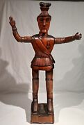 1870and039s-1880and039s Wood Carving Of A German Austrian Or French Soldier 31 3/4 Tall