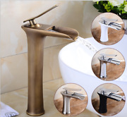 3 Colors Bathroom Vanity Basin Waterfall Spout Taps Mixer Deck Mounted Faucet