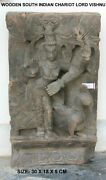 Handcrafted Wall Panel Statue Lord Vishnu Carving Unique Wooden Collectible Indi