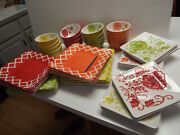 47pc 16 Dinner And Salad Plates 16 Cereal Bowls Melamine Square Laurie Gates Exc