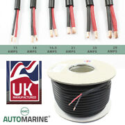Twin 2 Core Pvc Cable 12v 24v Thin Wall Wire Automotive Red Black Round Profile