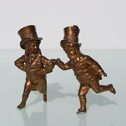 Antique Bronze Two Boy's With Top Hats Decoration Figurine. 19th Century