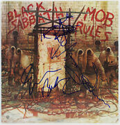Black Sabbath 3 Dio Iommi And Butter Signed Mob Rules Album Cover W/ Vinyl Bas