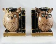 Wise Owl Bookends - 1960s Kitsch Piggy Bank Anthropomorphic Book End Graduation