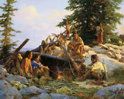 Camp At Cougarand039s Den Howard Terpning Limited Edition Canvas