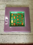 Art Glass Fused Plate Copper Colored Rectangles