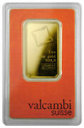 Valcambi Suisse 1 Troy Oz Gold Bar Sealed With Assay Certificate