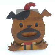 1920and039s-1930and039s Wood Squeaking Dog Mechanical Bank Possibly Only Known Example