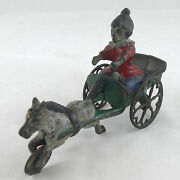 Ca. 1895-1905 Horse Pulling Clown Dwarf Iron Bell Toy Made By Gong Bell Mfg. Co.