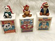 Lands' End Bear Rugby Christmas Holiday Ornament Big Daddy Kid Kodiak Ping Lot 3