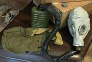 Soviet Russian Military Gp-5 Gas Mask W/ Extra Long Extension Hose And Canister