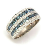2 Ctw Natural Blue And White Diamond Solid 14k White Gold Wide Channel Ring 10 Mm