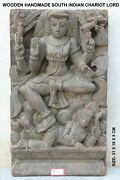 Handcrafted Wall Statue Panel Lord Siva Wood Carved Antique Rare Unique Home Dec