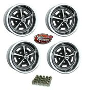 1969 1970 Chevelle 14/7 14 X 7 Ss Silver / Black Painted Complete Wheel Set