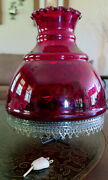 Vintage Lamp Shade 10 Tall 10 Wide Cranberry Optic Red Glass Dot Electric Oil