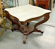 Antique Empire Mahogany Marble Top Parlor Center Table
