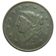 Large Cent/penny 1837 Newcomb 5 Xf Details