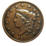 Large Cent/penny 1837 Newcomb 15 Rare Type Late Die State Cracks Higher Grade