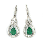 3.2 Ctw Natural Green Emerald Diamond Solid 14k White Gold Tear Drop Earrings