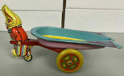 Vintage Easter Bunny With Cart Wyandotte Toy Made In Usa Happy Easter Rabbit