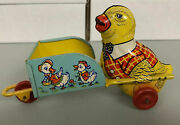 Easter Chick With Cart Tin Toy J. Chein Made In Usa