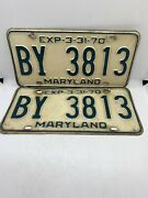 Antique Automobile Old Muscle Car Vintage 1970 Maryland License Plates By 3813