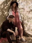 Free People Menswear S Maxi Button Down Shirt Dress Duster Maroon Jacket Trench