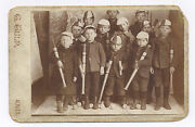1870and039s-1890and039s Boys W/ Flat Head Striped Spalding Baseball Bats Cabinet Photo