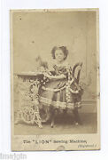 1860and039s-1870and039s Cdv Photo Iron Lion Figural Sewing Machine With Girl Seated
