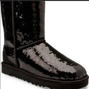 New In Box Ugg Classic Short Sequin Boots Black Size 7m