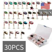 Bass Trout Spinner Baits Fishing Lures 30pcs Assortment Lot With Tackle Box