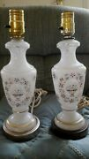 Vtg. Table Lamps Pair White/clear Style Of Murano Glassunmarkedhand Blown 13
