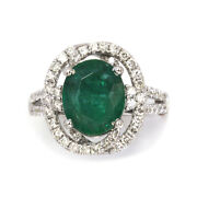 3.3 Ctw Natural Green Emerald Diamond Solid 14k White Gold Halo Engagement Ring